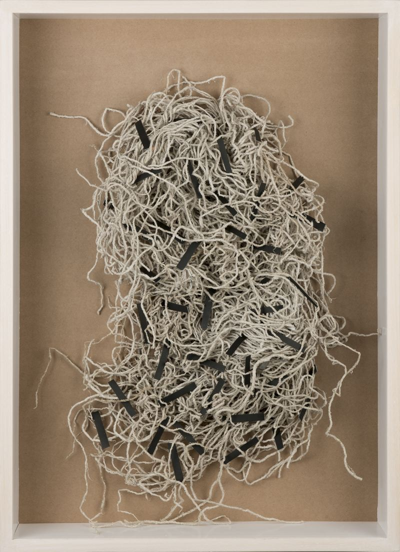 Dominique Edwards. Mop|Map. Discarded mop, tape, brown paper. 2015