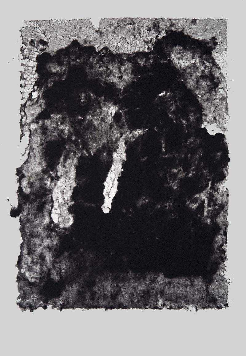 Dominique Edwards. After the Flood|Seep I. Tumble dryer lint on felt mounted onto a light box. 2015